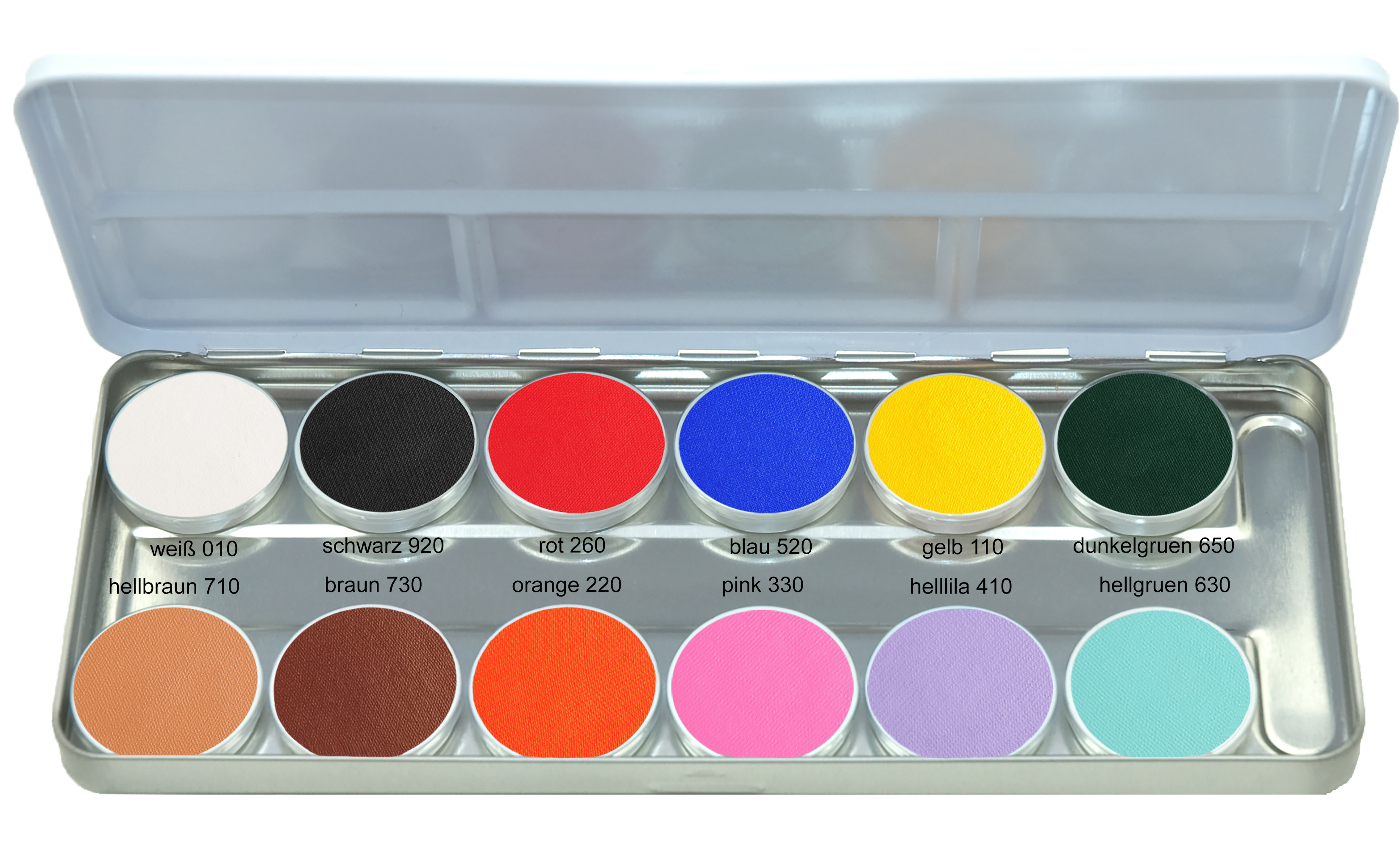 Mascerade AquaSuperPaint Schminkpalette Sortierung-1 mit 12 Farben